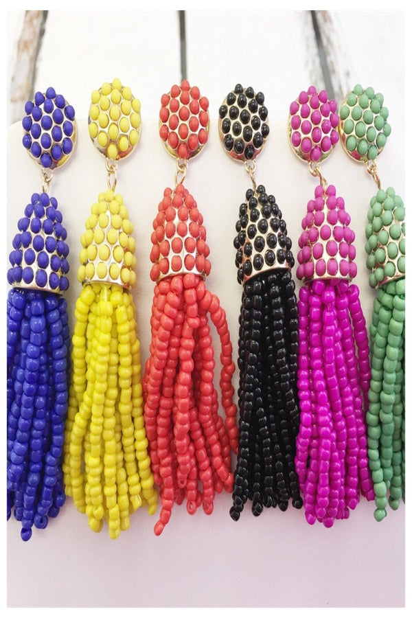 Tassel Seed Bead Earrings