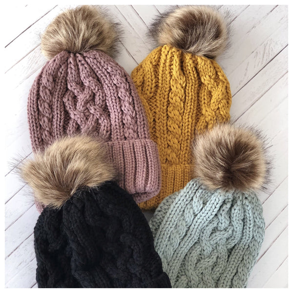 Cable Knit Pom Beanies