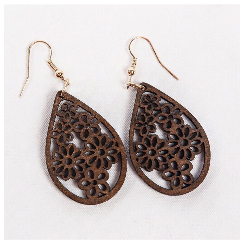 Wooden Filigree Teardrop Earrings