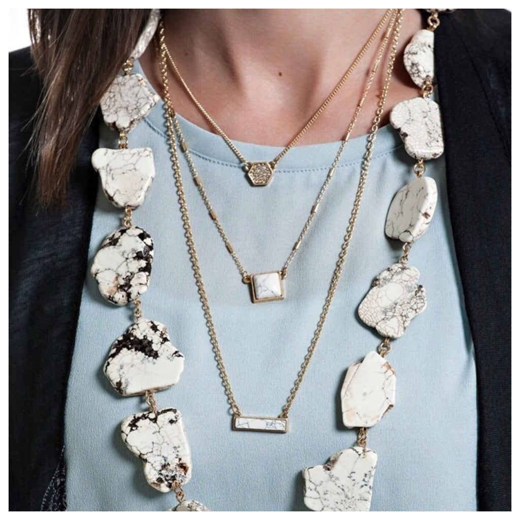 Marble Stone and Pave Tri Layer Necklace