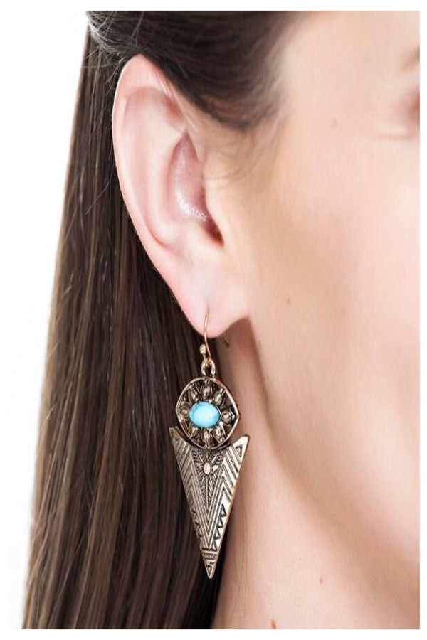 Turquoise Stone Arrowhead Earrings