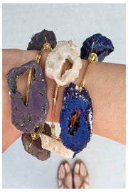 large geode stone wire wrapped bracelets