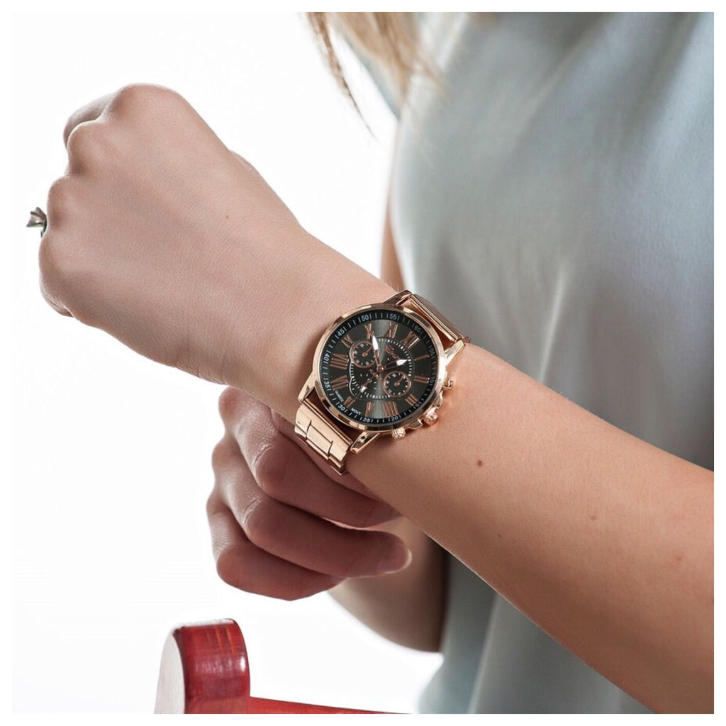 Rose Gold Watch with Colored Face Display | 6 Colors