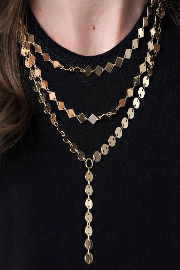 Layered Gold Lariat Necklace