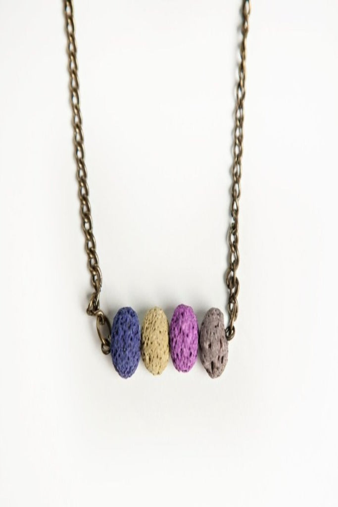 Lava Bead and Bar Necklace