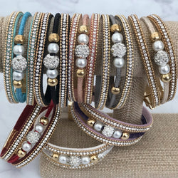 Luxe Leather and Pave Bracelets