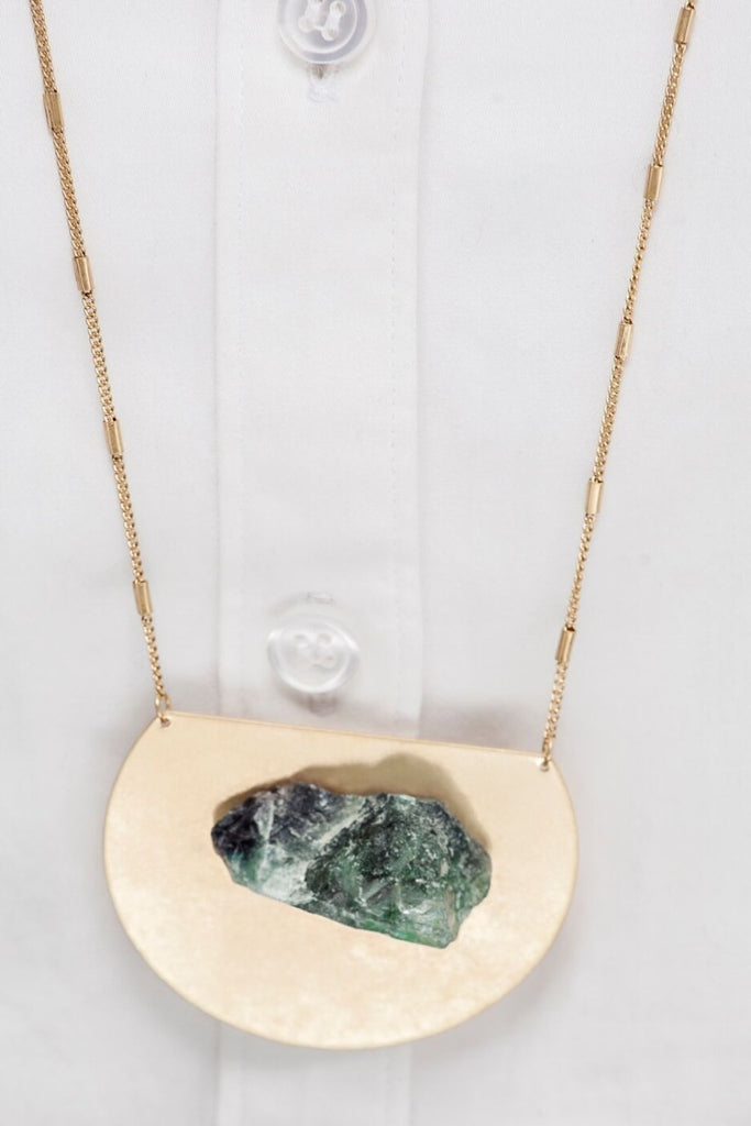 Medallion Mounted Natural Stone Pendant