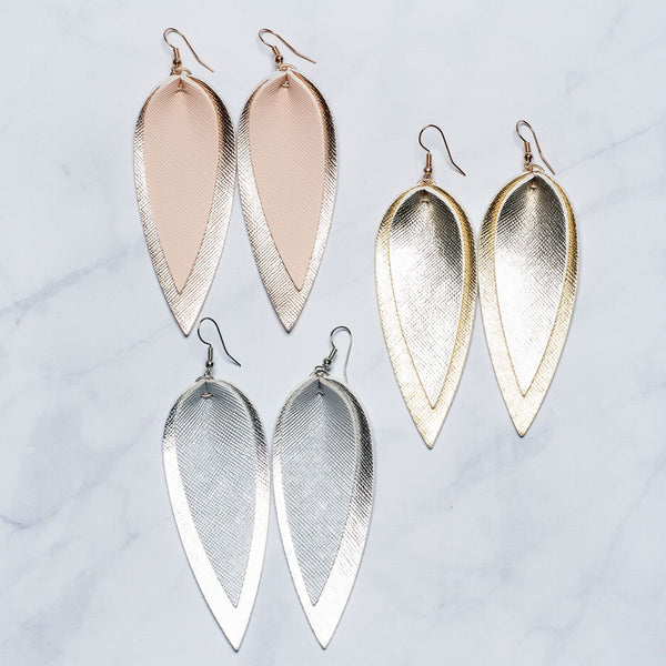 Double Leaf Metallic Earrings