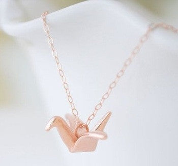 Origami Crane Rose Gold Necklace