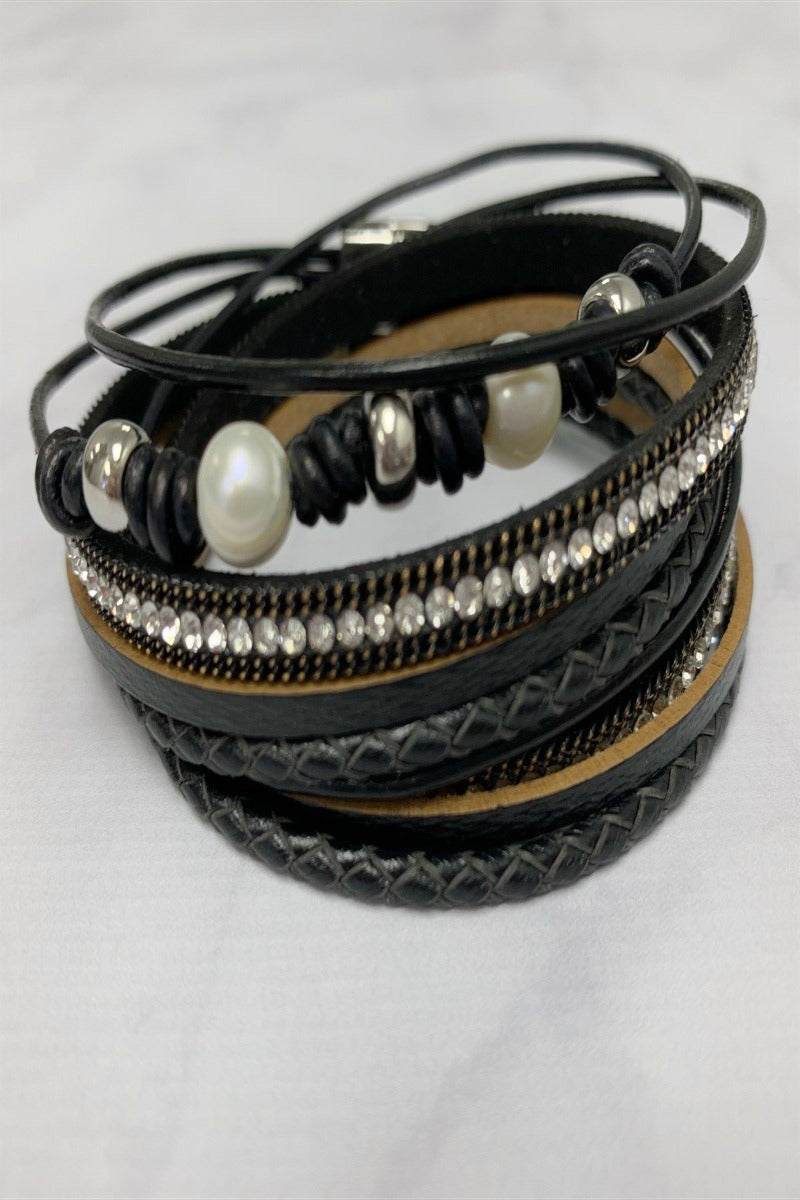 Pearl and Bling Wrap Bracelets