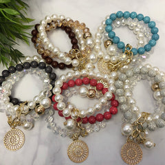 Bead and Pearl Bracelet Stack