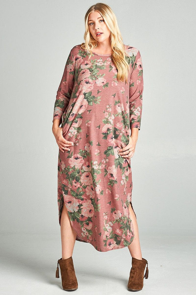 Heathered Floral Plus Size Maxi Dress - 3 Colors – Modern ...