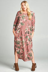 Heathered Floral Plus Size Maxi Dress - 3 Colors