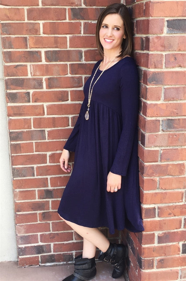 Pocket Dress with Long Sleeves and Empire Waist | 4 Colors