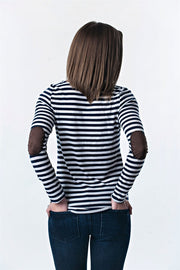 Striped Long Sleeve Elbow Patch Top | 4 colors