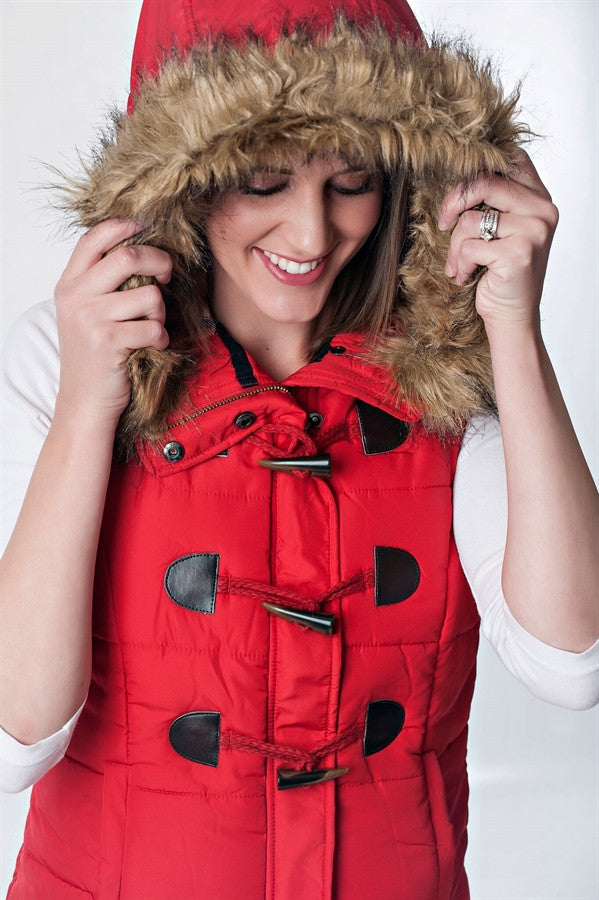 Puffer Vest with Toggle Buttons