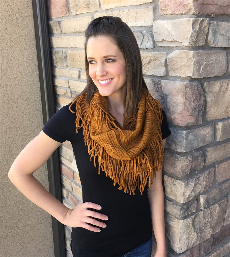 Ribbed Fringe Infinity Scarf | Lots of Colors!