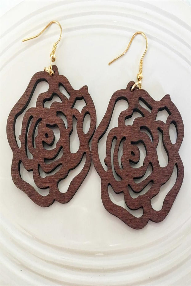 wooden rosette earrings