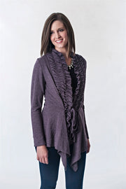 Ruched Front Cardigan with Tie Front | Extended Sizes
