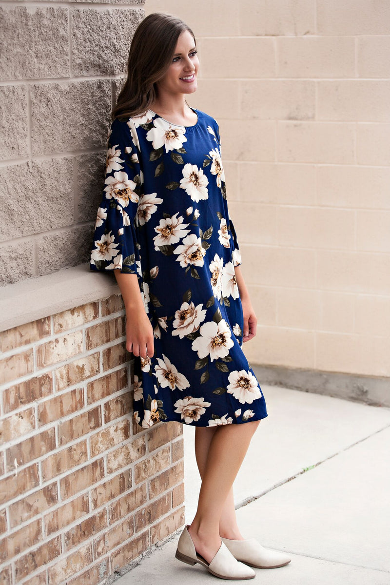 Ruffle Sleeve and Floral Shift Dress