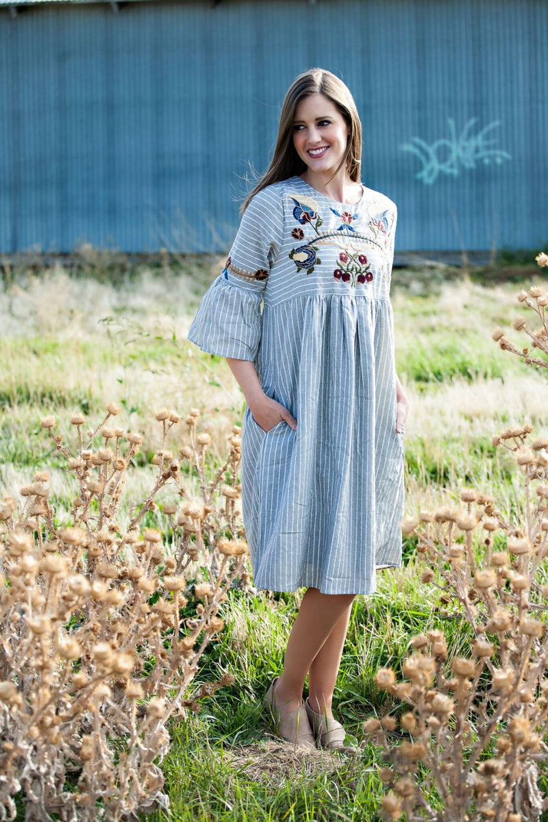 Sophie Embroidered Striped Dress