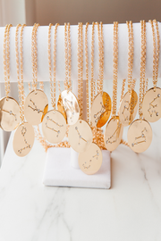 aries | birth constellation stamped disc necklaces