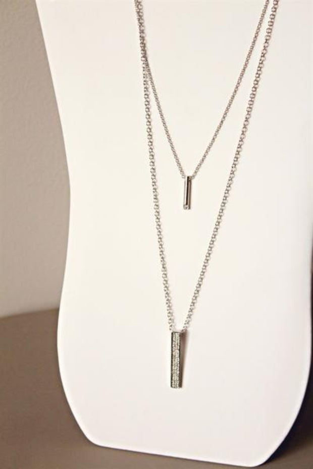 Double Layered Pendant Bar Necklace