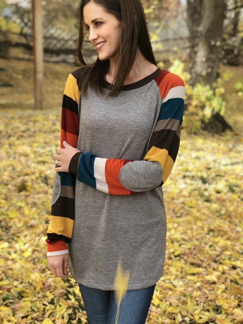 Cozy Knit Striped Sleeves Top