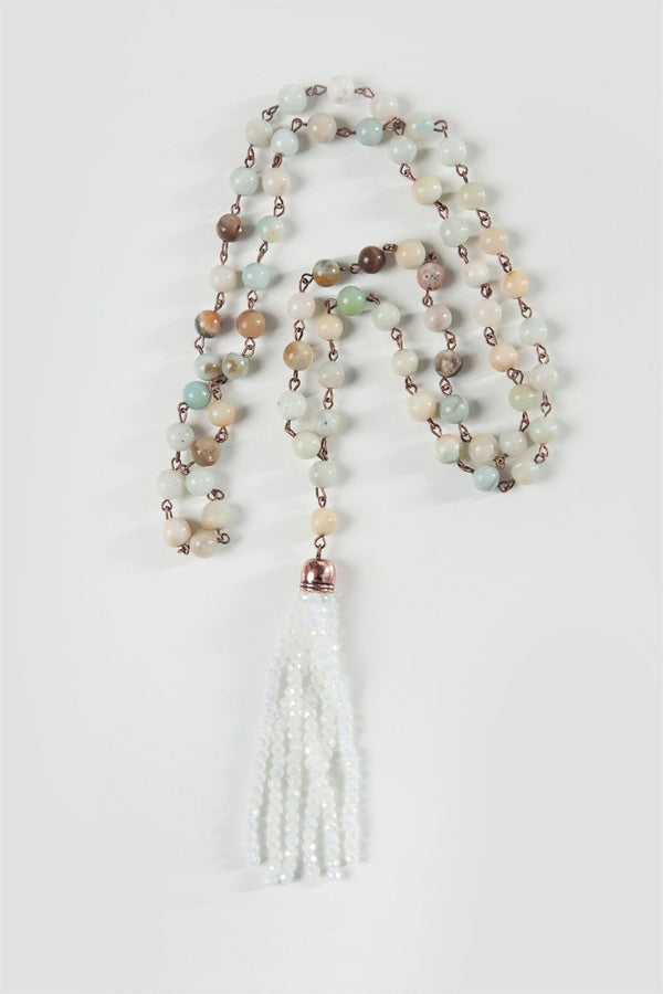 Long Semi Precious Beads Tassel Necklace