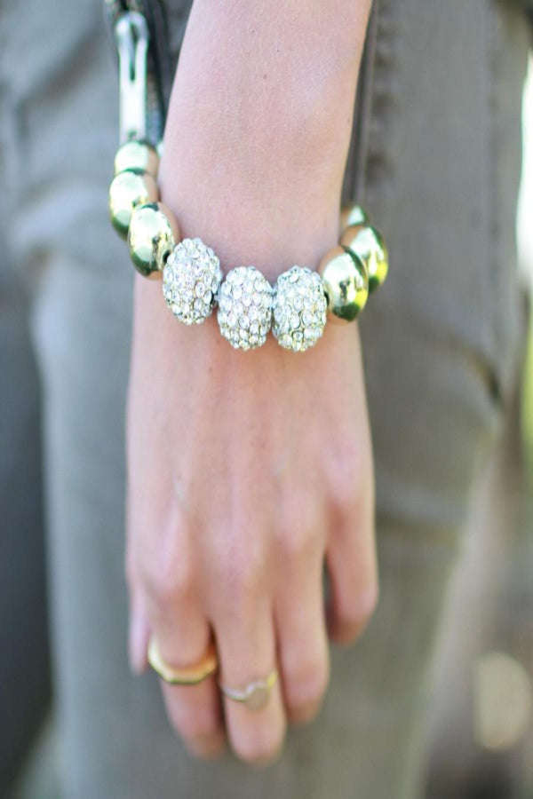 Gold and Pave Bead Stretch Bracelet