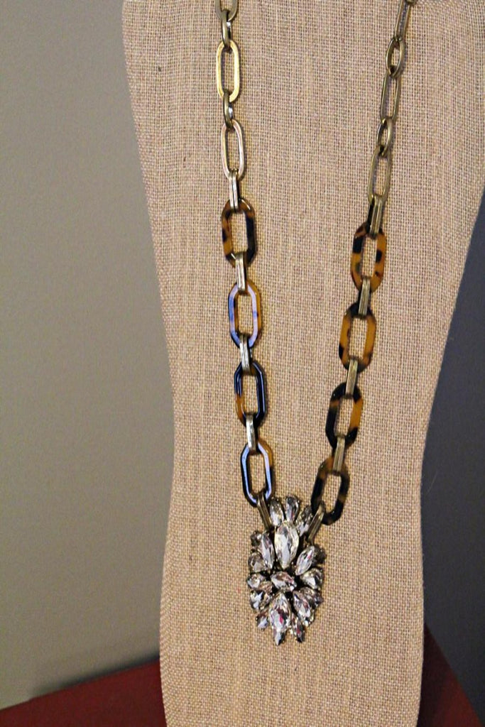 Tortoise and Vintage Crystal Cluster Necklace