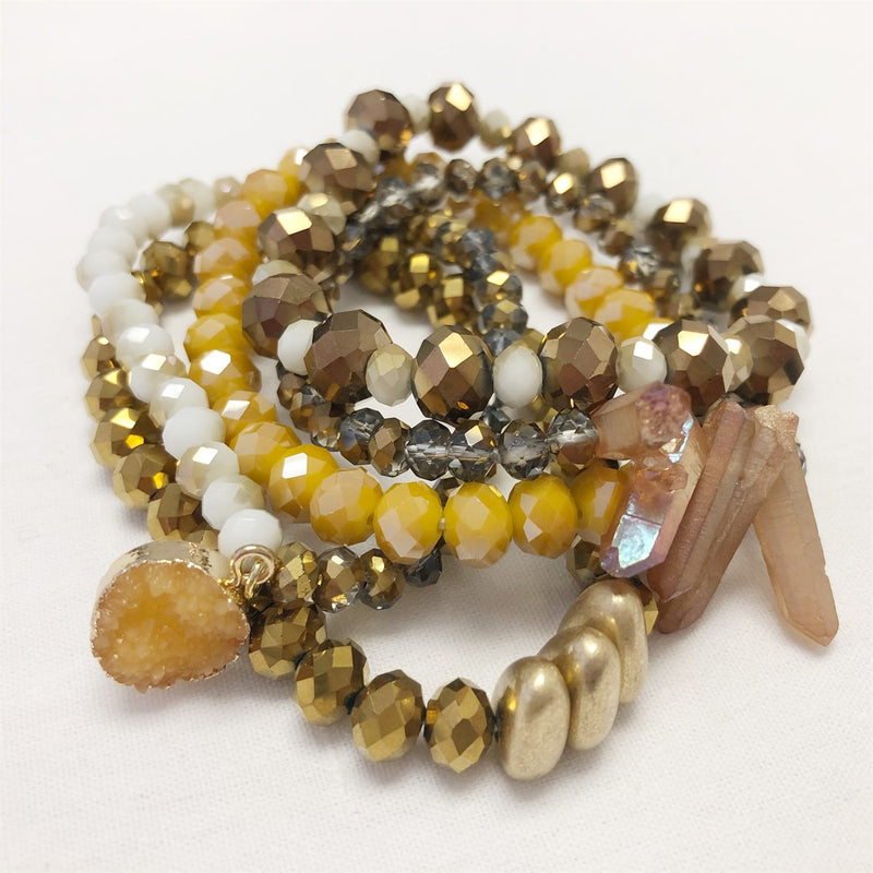 Stacked Stones and Beads Bracelet Stack | 5 colors