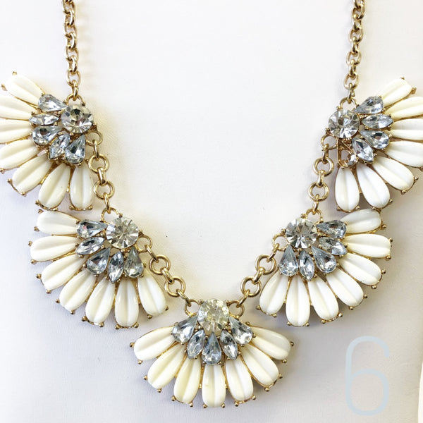 Cream Fan Bib Necklace