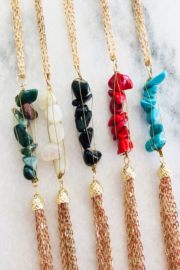 Natural Stone and Tassel Necklaces