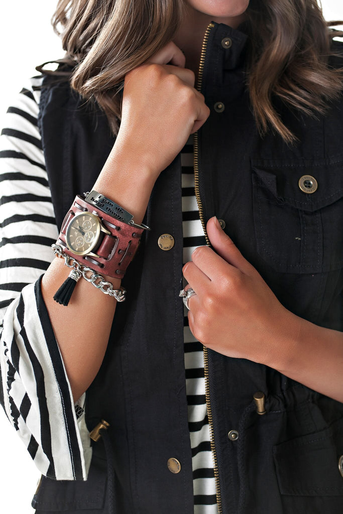 Distressed Leather Watch Cuff with Buckle
