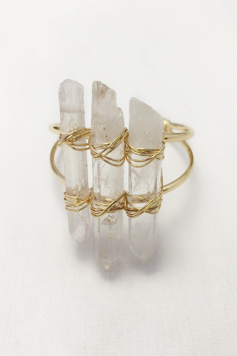 Triple Crystal Stone Cuff