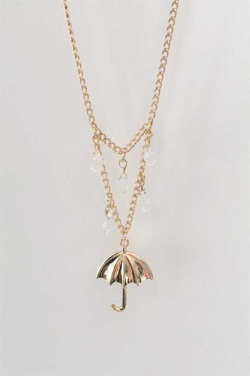 Raindrops and Umbrella Necklace