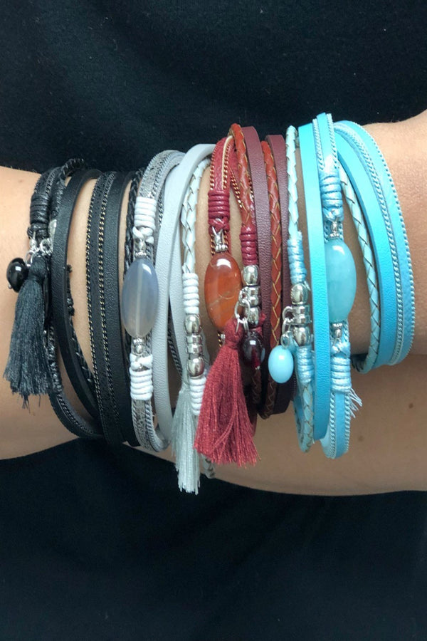 Stone and Tassel Wrap Bracelets