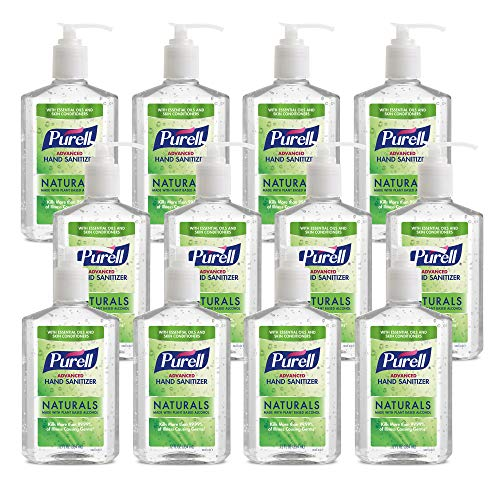 PURELL NATURALS Advanced Hand Sanitizer Gel, with Skin Conditioners and Essential Oils, 12 fl oz (Case of 12)