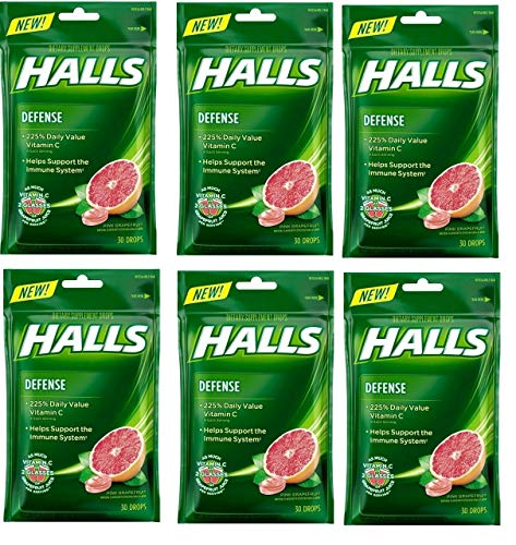 Halls Defense Pink Grapefruit Vitamin C Drops - with Immune Support - 30 Drops (6)