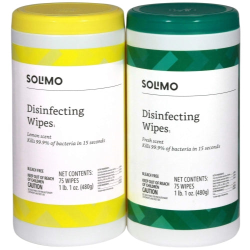 Solimo Disinfecting Wipes, Lemon Scent & Fresh Scent Sanitizes/Cleans/Disinfects/Deodorizes 75 Wipes Each (Pack of 2)