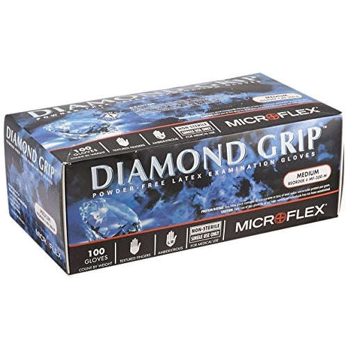 Microflex MF-300-S Diamond Grip Powder-Free Examination Latex Gloves Small (Box of 100)