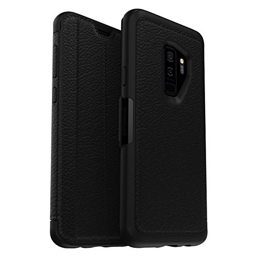 OtterBox Strada Folio Series Premium Leather Case for Samsung Galaxy S9+ (Shadow Black/Pewter)