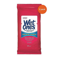 WET ONES Antibacterial Hand Wipes, Fresh Scent 20 ea (Pack of 2)