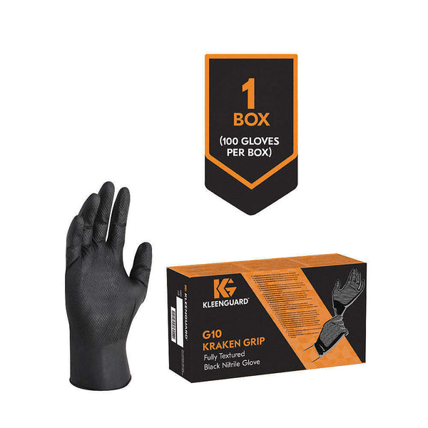 Kleenguard 49278 Black Fully Textured Nitrile Gloves, Extra Large (Box of 100)