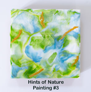 "Hints of Nature - Painting 3 - Encaustic Painting on Wood Panel 6"" x 6"""