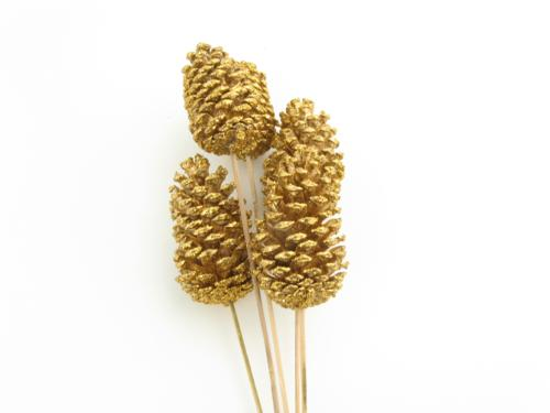 Pinecone on Stem Glittered Gold