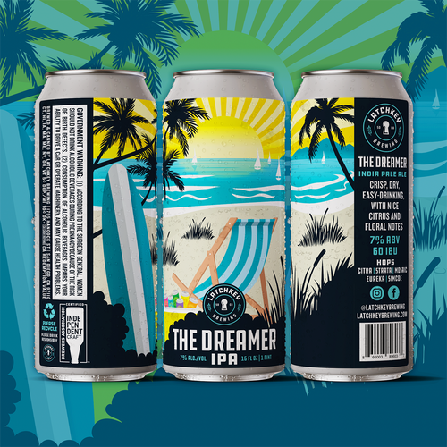 16oz Cans: The Dreamer IPA (West Coast) - Latchkey Brewing Company