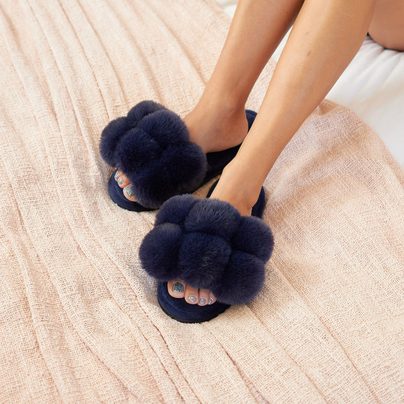 Pom Pom Slippers - Cosy Luxe Available In Two Colours