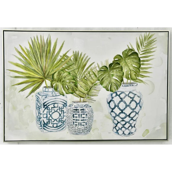 Chinese Vase with Leaves Wall Art